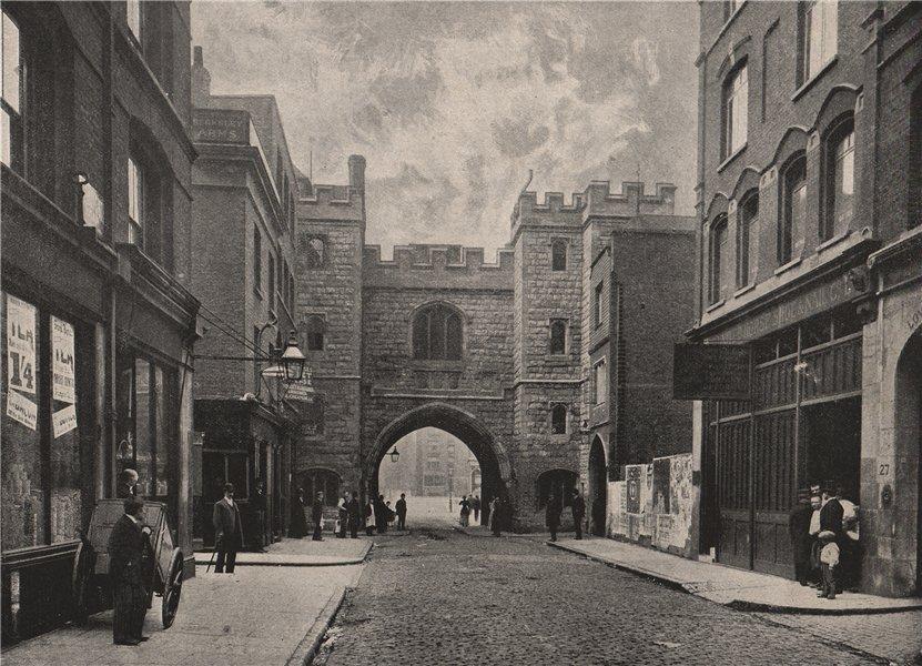 Associate Product St. John's Gate, Clerkenwell. London 1896 old antique vintage print picture