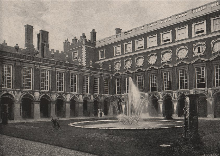 Associate Product Hampton Court Palace. Fountain Court. London. Historic Houses 1896 old print