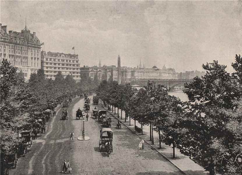 Associate Product The Victoria Embankment, from Charing cross station. London 1896 old print