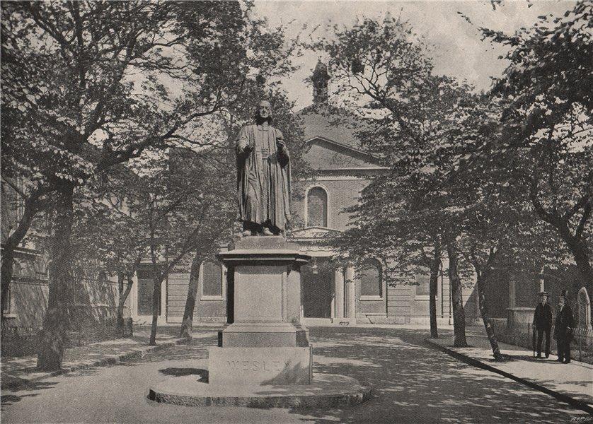 Associate Product Wesley's Chapel. London. Churches 1896 old antique vintage print picture