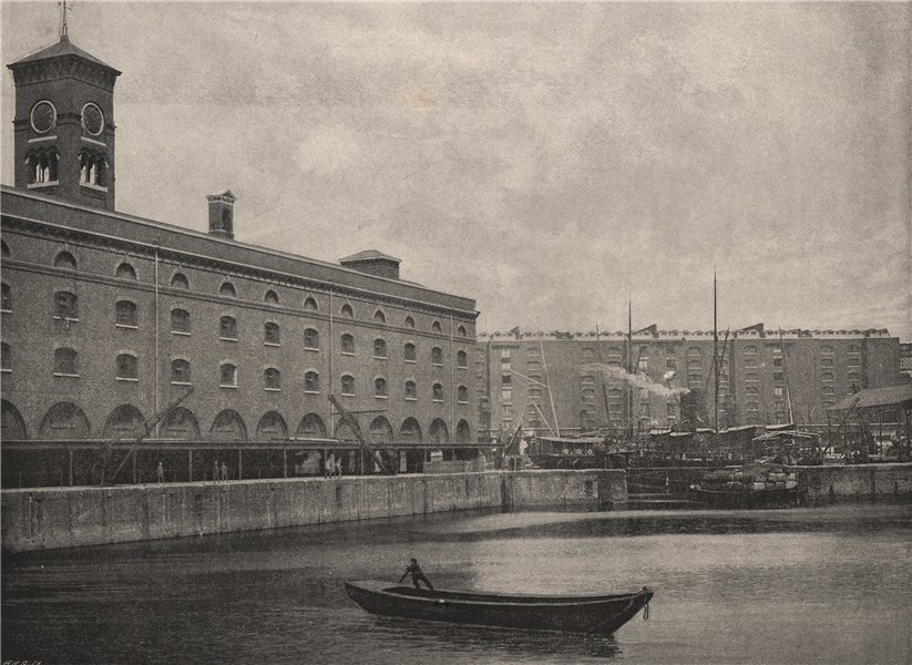 Associate Product St. Katharine's Dock. London. Ships 1896 old antique vintage print picture
