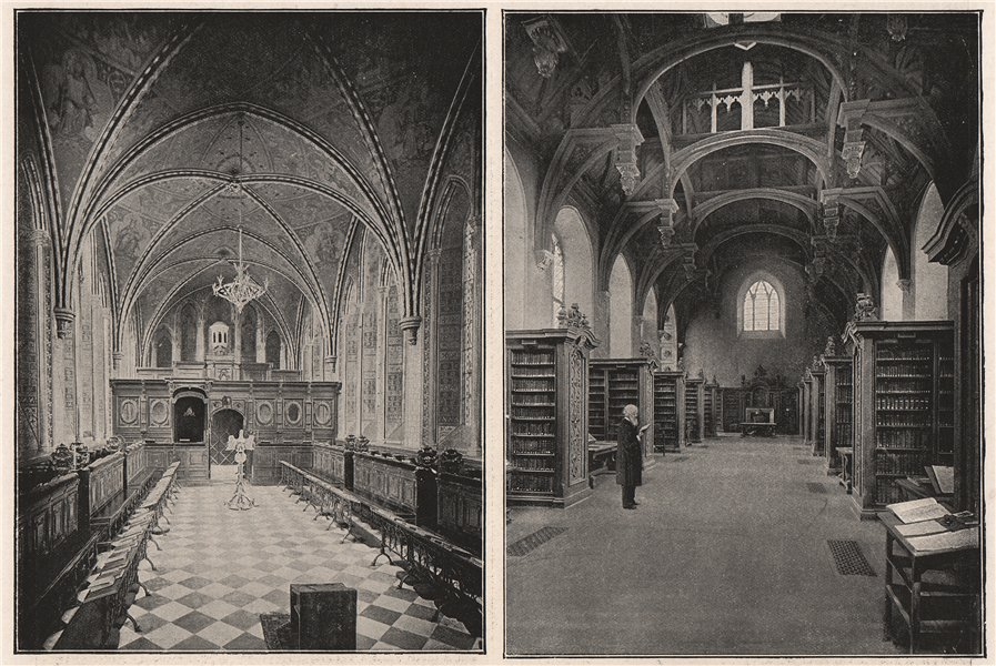 Associate Product Lambeth Palace. The Chapel; Lambeth Palace. The Library. London 1896 old print