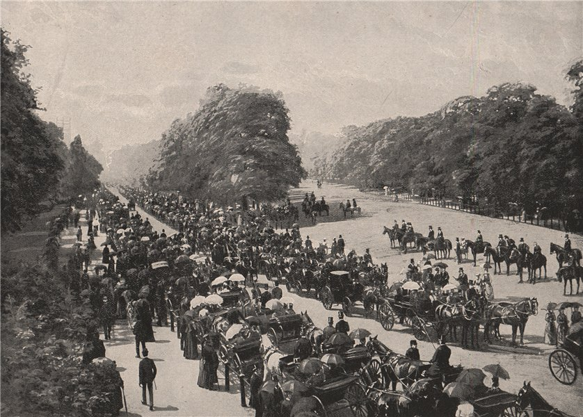 Associate Product The Drive and Rotten row, Hyde Park. London 1896 old antique print picture