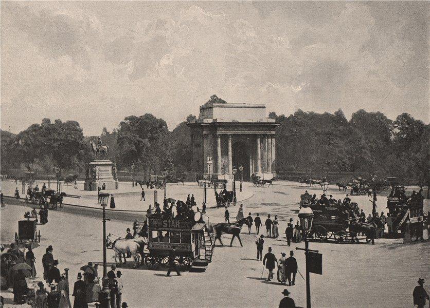Associate Product The Green Park Arch, Wellington Place. London 1896 old antique print picture