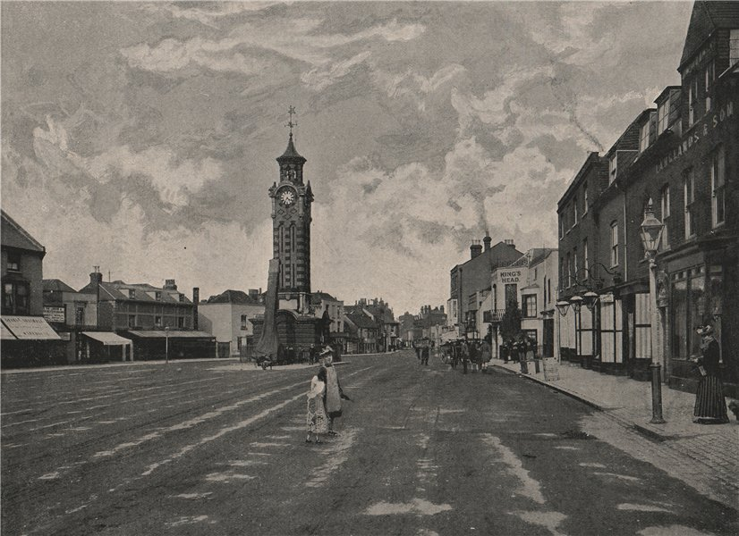 Associate Product High Street, Epsom. Surrey 1896 old antique vintage print picture