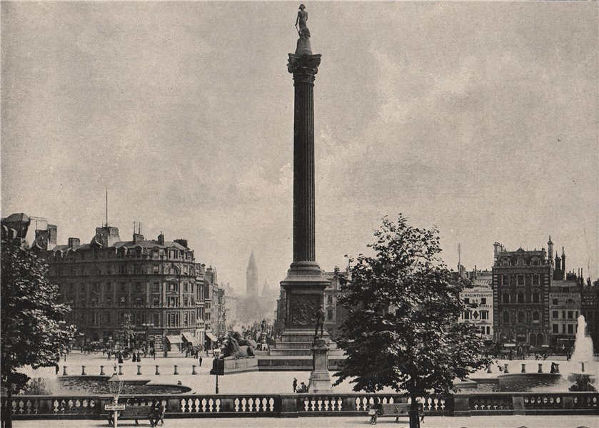 Associate Product Trafalgar Square, looking down Whitehall. London 1896 old antique print