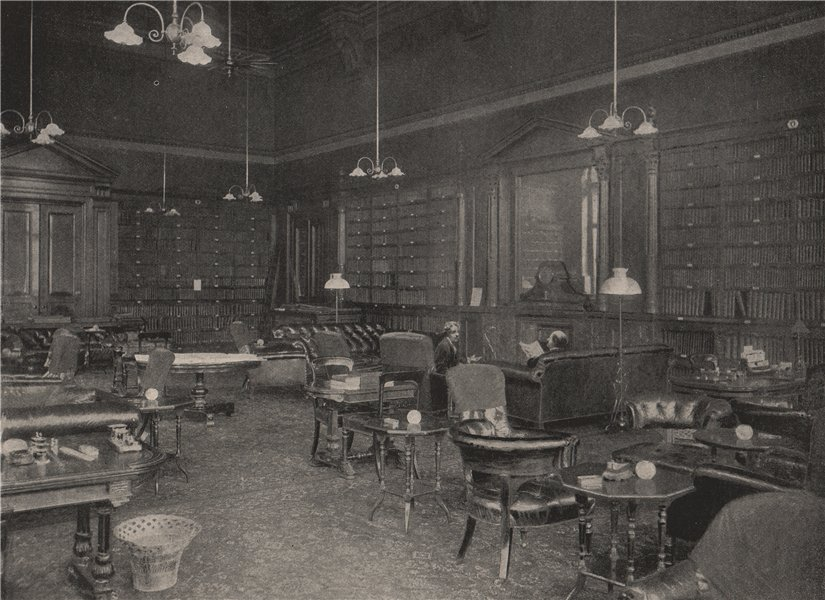 Associate Product Smoking-Room of The Carlton Club. London 1896 old antique print picture