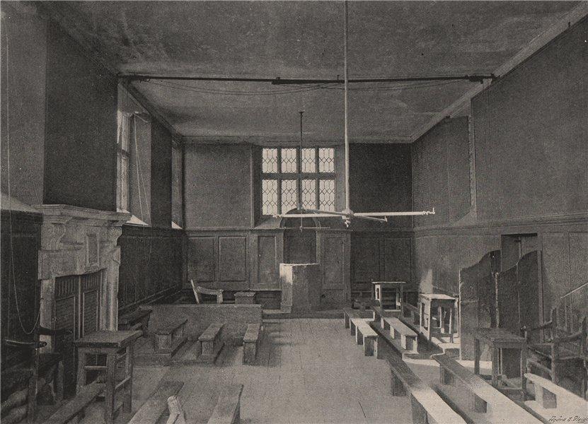 Harrow School. The fourth form room. London. Education 1896 old antique print