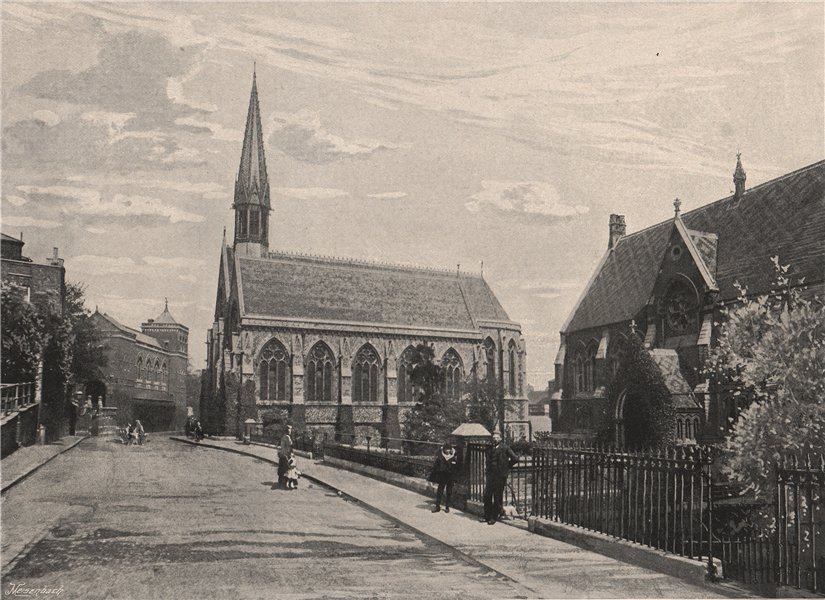 Associate Product Harrow School. The Chapel and Library. London. Education 1896 old print