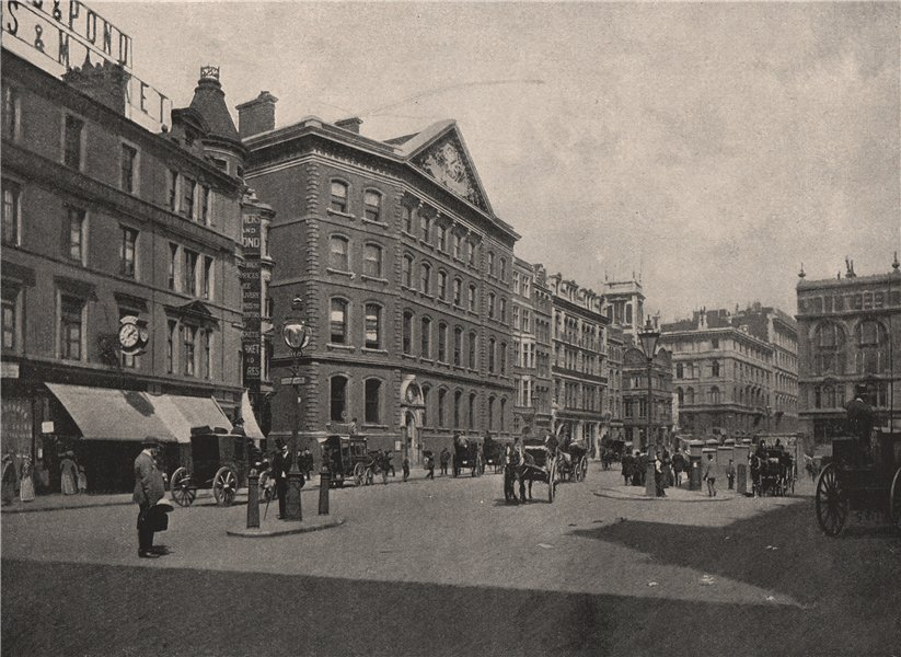"""Associate Product """"The Times"""" office, and Western end of Queen Victoria Street. London 1896"""