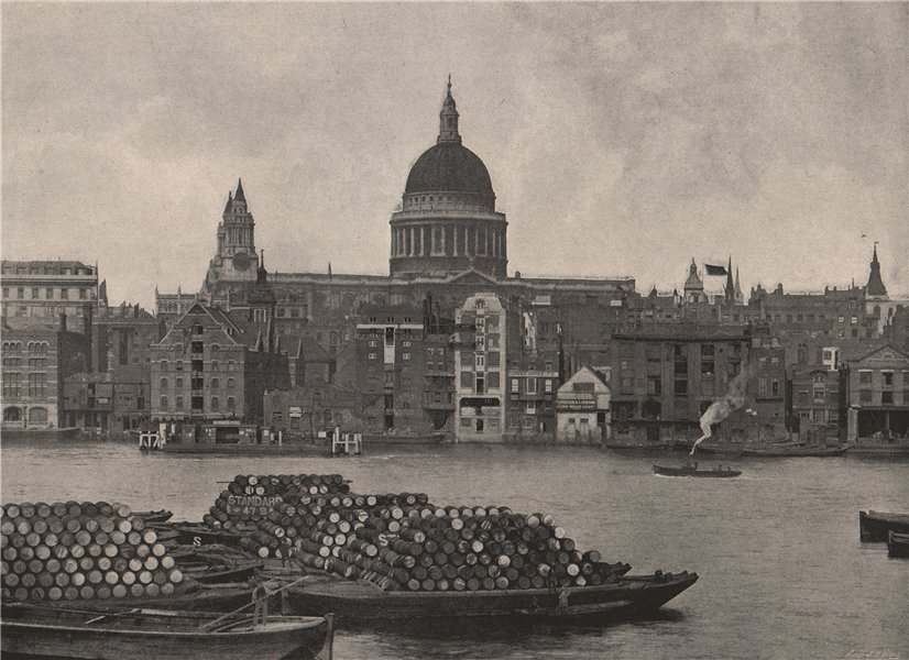 Associate Product The Thames and St. Paul's, from Bankside. London 1896 old antique print
