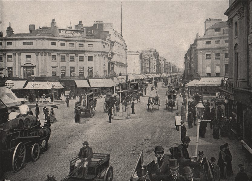 Associate Product Regent Circus and Oxford Street, Looking East. London 1896 old antique print