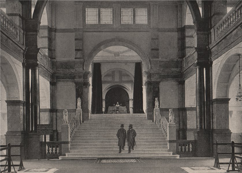 The Imperial Institute. The Entrance Hall. London 1896 old antique print