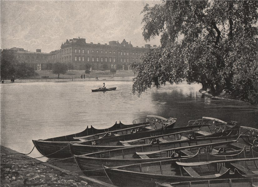 Associate Product Buckingham Palace, from St. James's Park. London. Historic Houses 1896 print