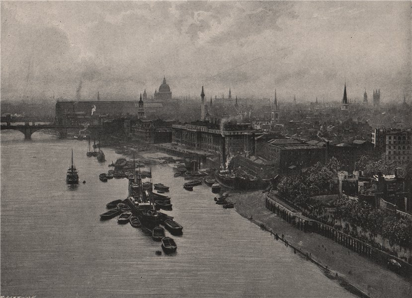 Associate Product View up the river from The Tower Bridge (High level). London 1896 old print