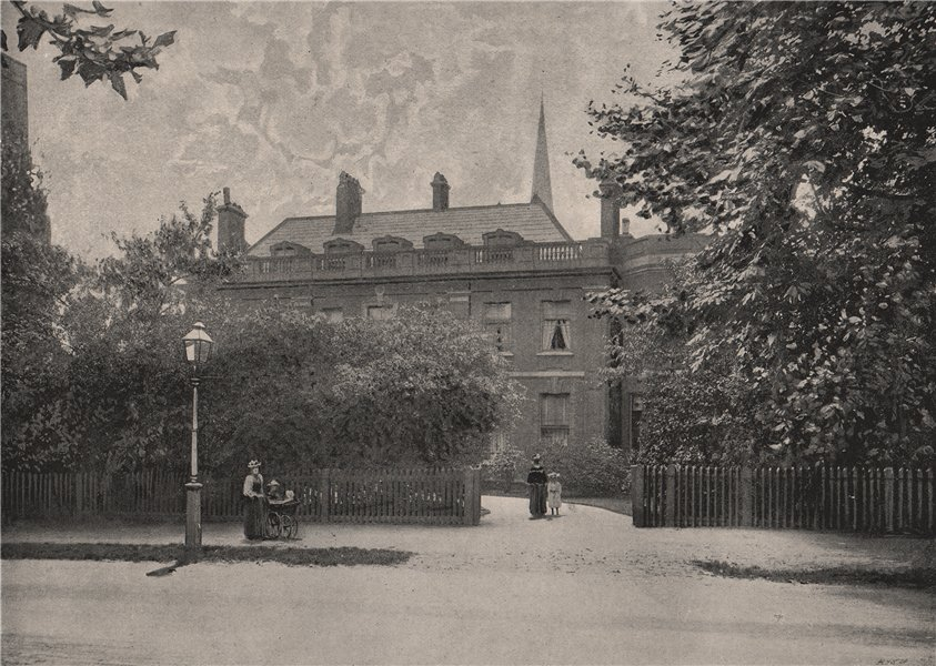 Associate Product Thackeray's House, Palace Gardens. London 1896 old antique print picture