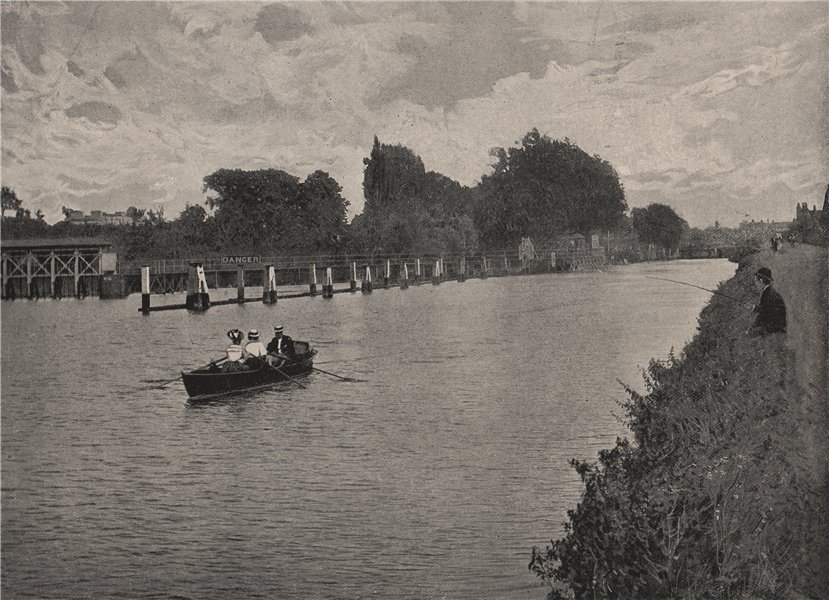 Associate Product Molesey Weir. Surrey 1896 old antique vintage print picture