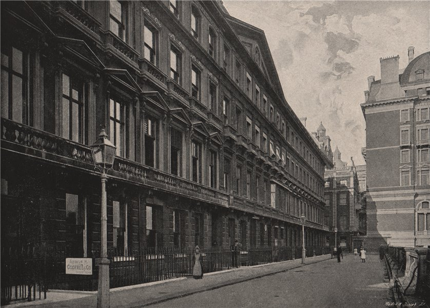 Associate Product Adelphi Terrace, with Garrick's House. London 1896 old antique print picture