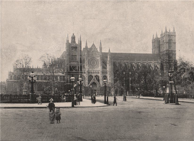 Westminster Abbey, from The North. London. Churches 1896 old antique print