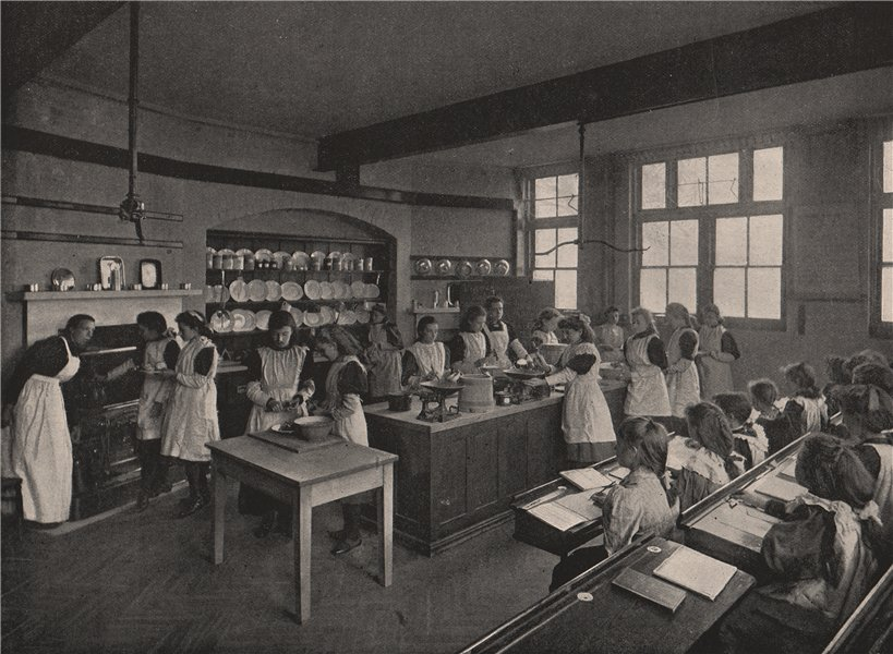 Associate Product A board school cookery class. London. Education 1896 old antique print picture