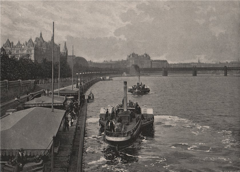 Associate Product The Victoria Embankment, from Westminster Bridge. London 1896 old print