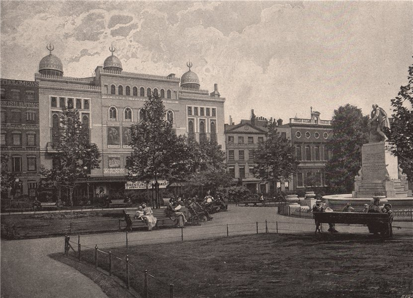 Associate Product Leicester Square. London 1896 old antique vintage print picture