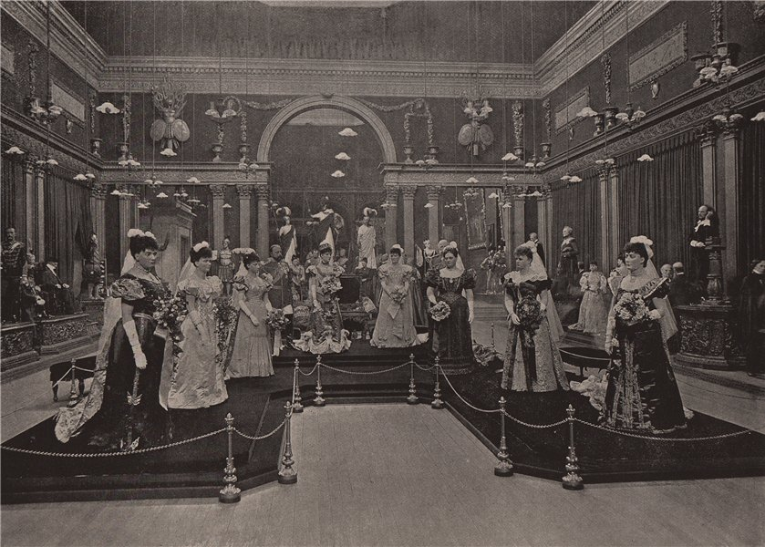 At Madame Tussaud's. London 1896 old antique vintage print picture