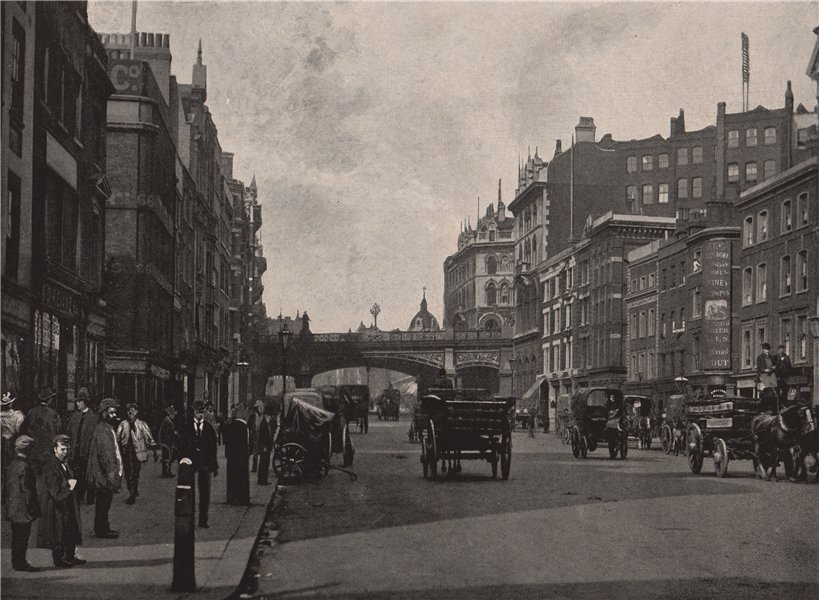 Associate Product Holborn Viaduct, from Farringdon Street. London 1896 old antique print picture