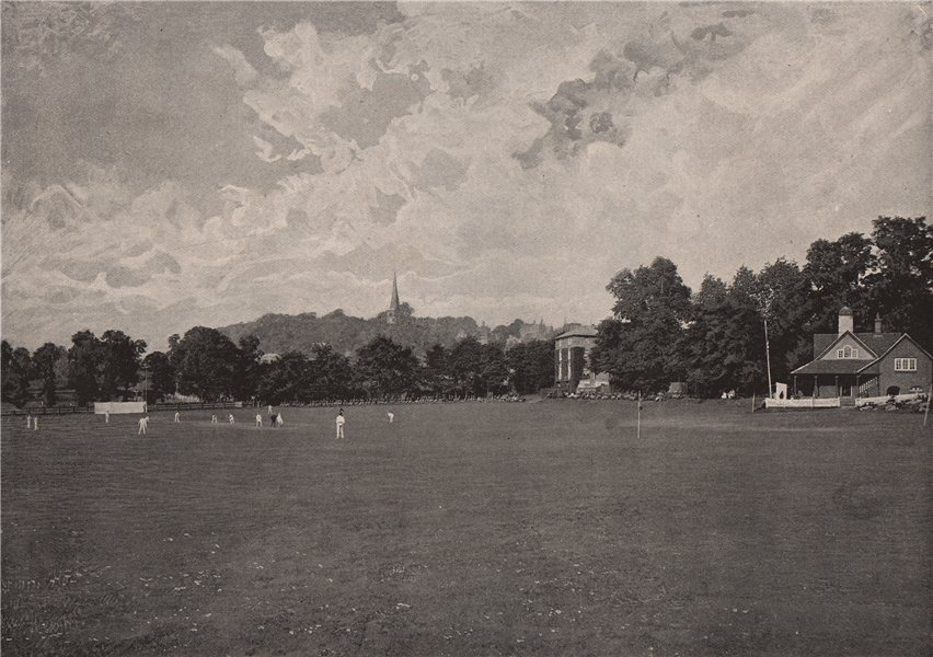Associate Product Harrow, from the school Cricket-Ground. London. Education 1896 old print