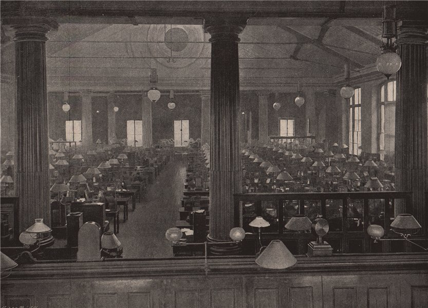 Associate Product The telegraph instrument galleries, General Post Office. London 1896 old print