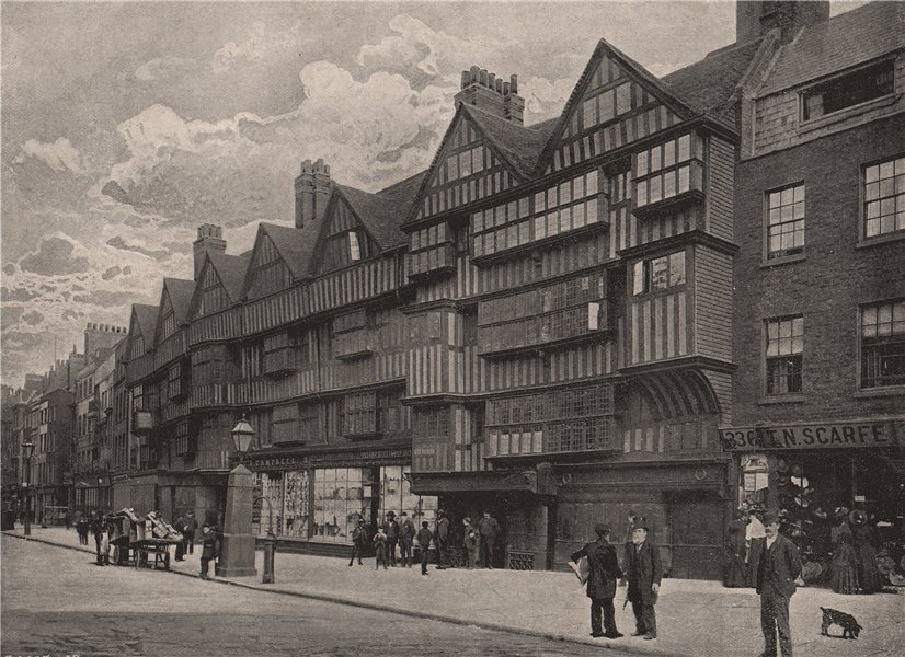 Associate Product Old Houses at Holborn Bars. London 1896 antique vintage print picture
