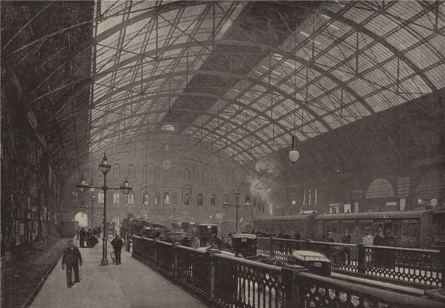 Associate Product Interior of Charing Cross Station. London. Railways 1896 old antique print