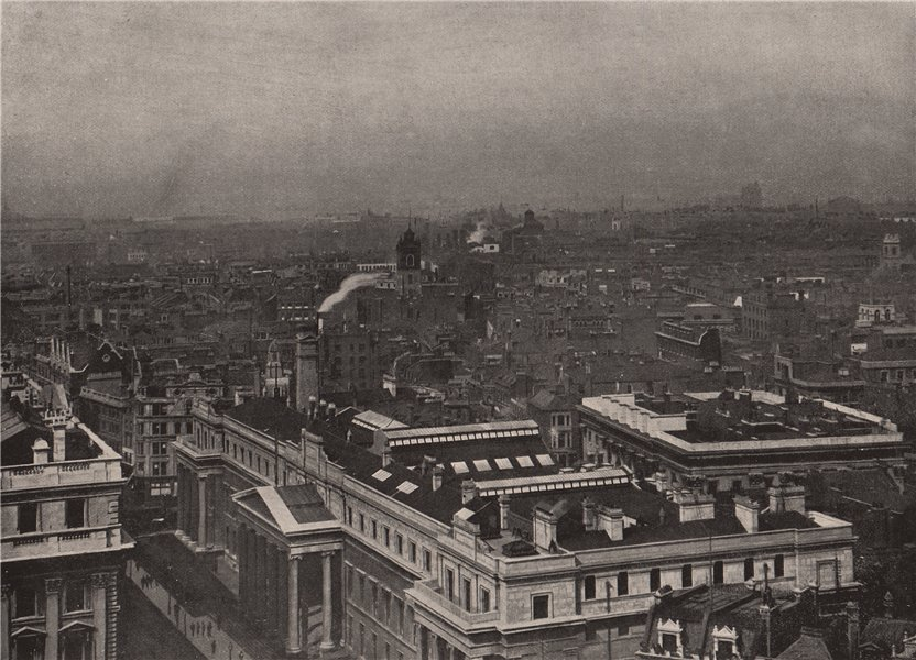 View from St. Paul's looking North-East. London 1896 old antique print picture