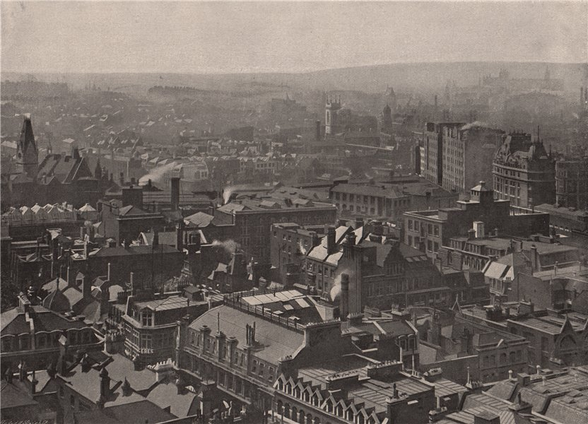Associate Product View from St. Paul's looking North-West. London 1896 old antique print picture