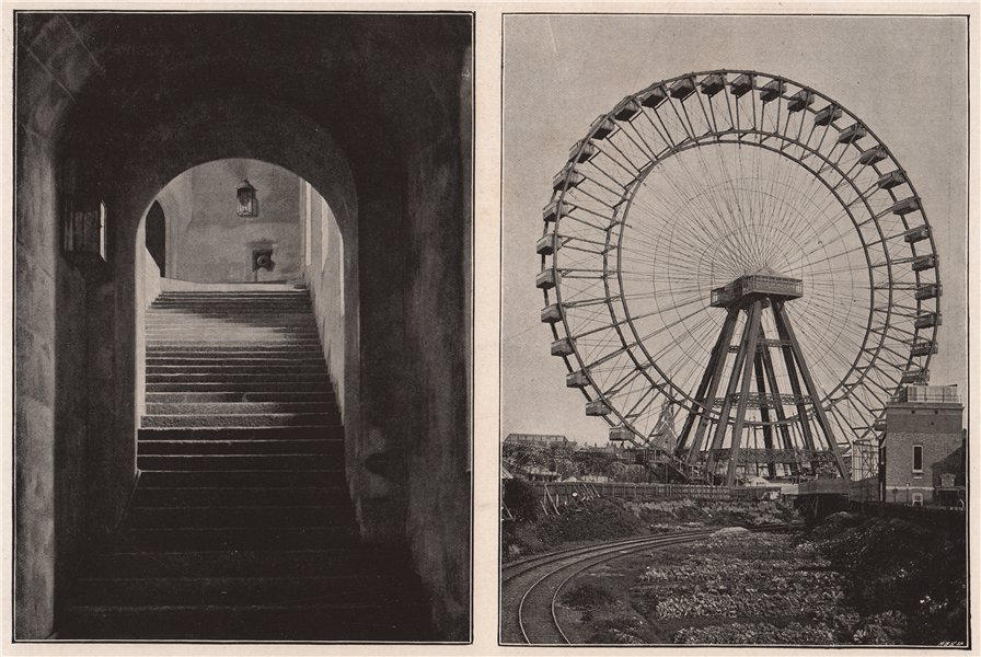 Associate Product Windsor Castle. Round Tower stairs; The Great Wheel at Earl's Court 1896 print
