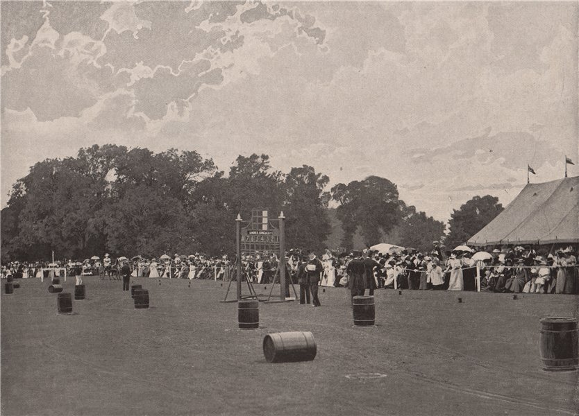 Associate Product Ladies' driving competition at the Ranelagh Club. London 1896 old print