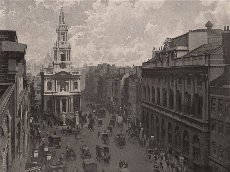 Associate Product The Strand, with St. Mary's Church, looking East. London 1896 old print