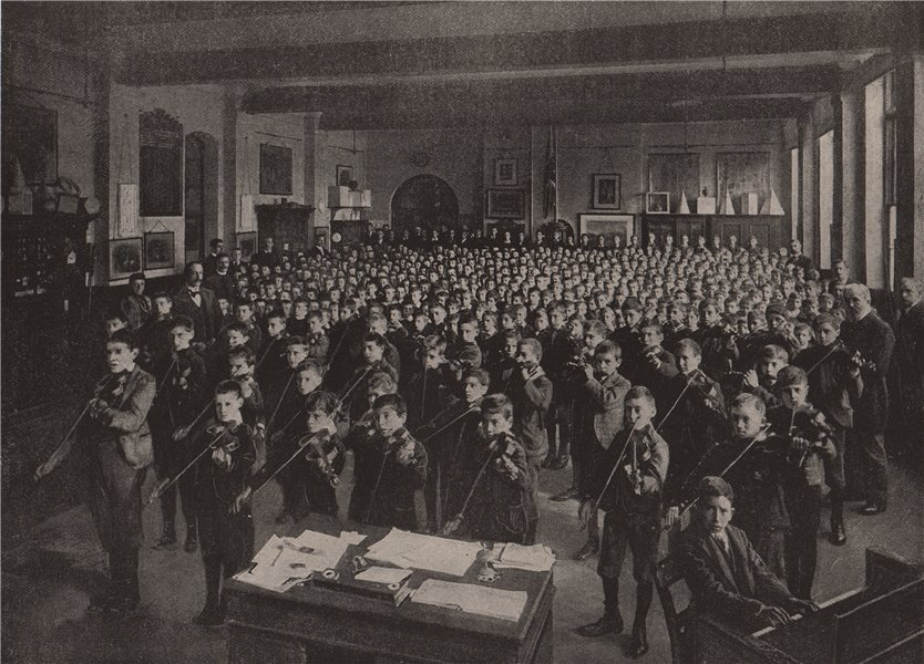 Associate Product Morning assembly at a board school. London. Education 1896 old antique print
