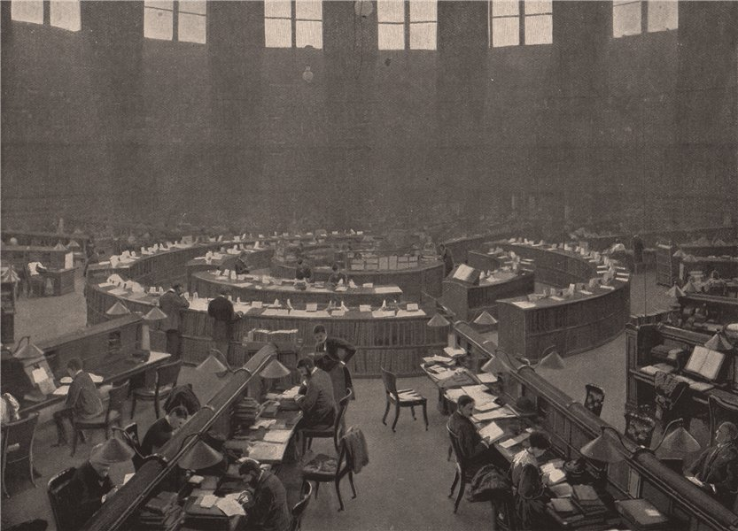 Associate Product The British Museum. The reading room. London 1896 old antique print picture