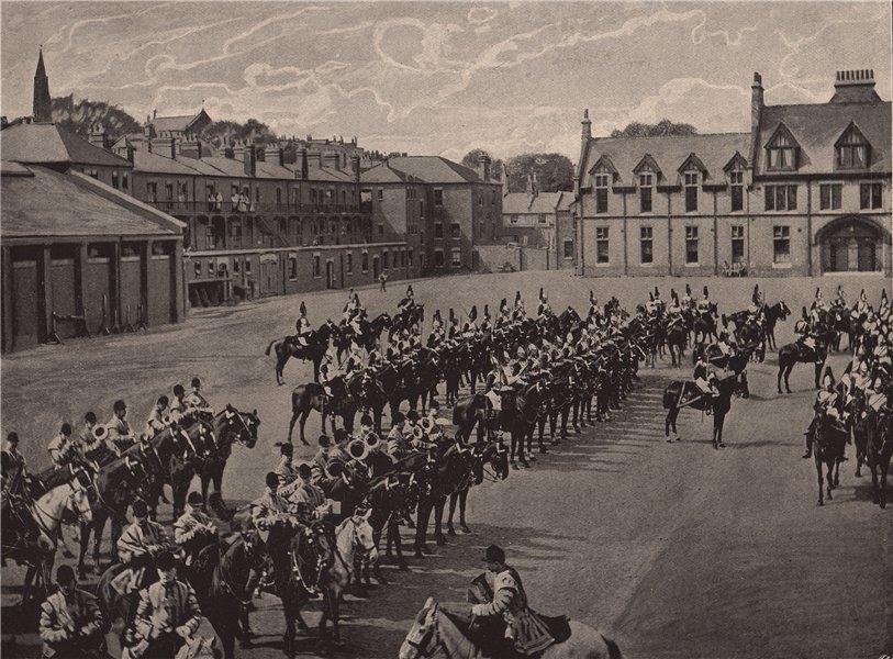 Drawing room Parade at Albany Barracks. London. Militaria 1896 old print