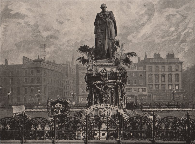 Associate Product Lord Beaconsfield's Statue on Primrose day, 1895. London 1896 old print