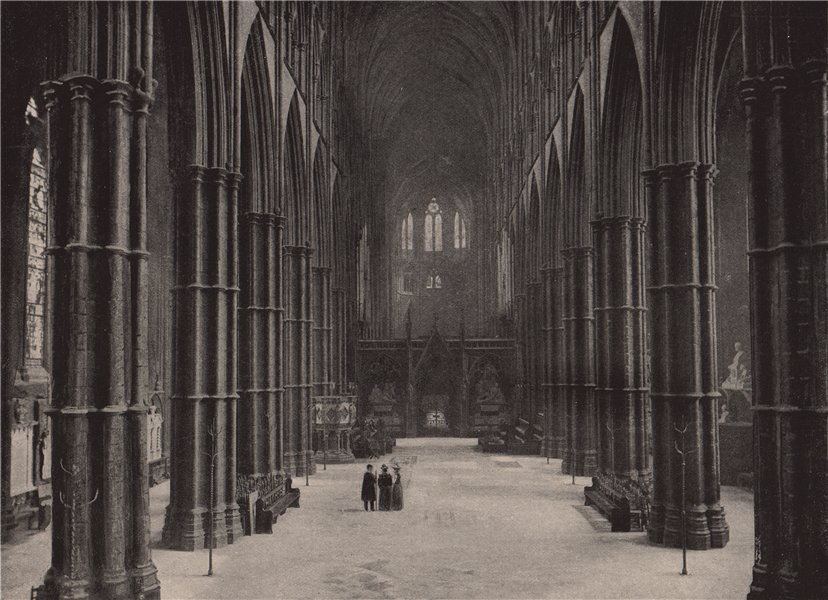 Associate Product Westminster Abbey. The Nave, looking East. London. Churches 1896 old print
