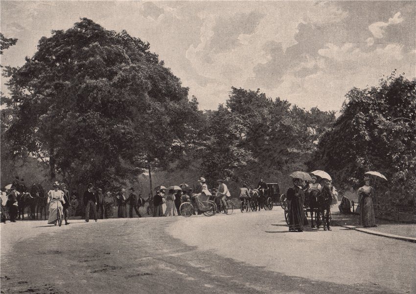 Associate Product Cycling in Battersea Park. London 1896 old antique vintage print picture
