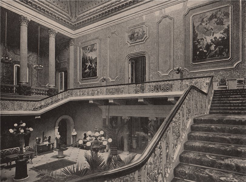 Associate Product Hall and Staircase of Stafford House. London 1896 old antique print picture