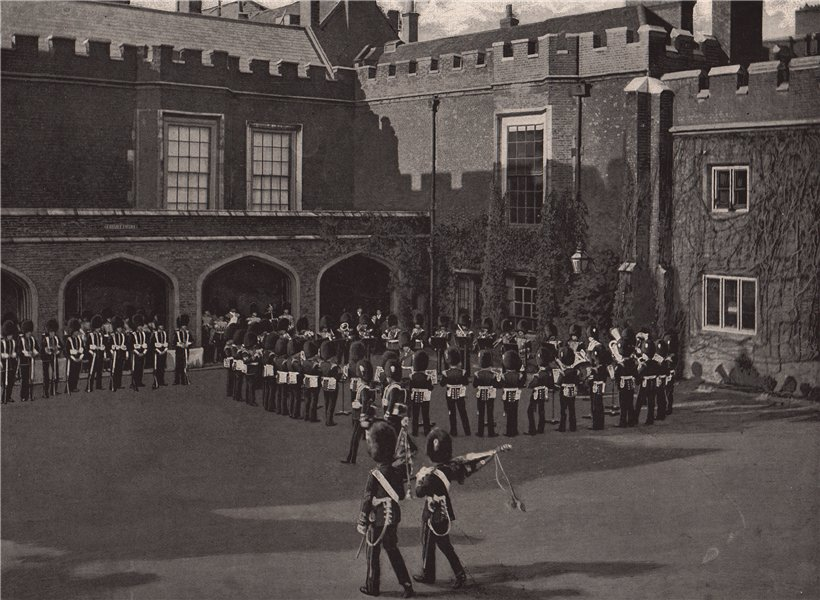 Associate Product The Changing of The Guard, St. James's Palace. London. Militaria 1896 print