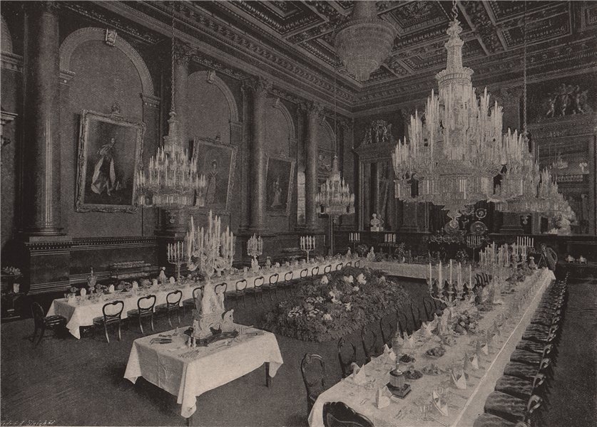 """Associate Product Goldsmiths' Hall Prepared for a """"Pyx Dinner"""". London 1896 antique print"""