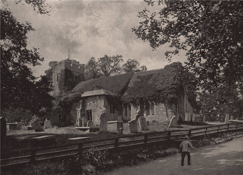 Associate Product Chingford Old Church. London. Churches 1896 antique vintage print picture