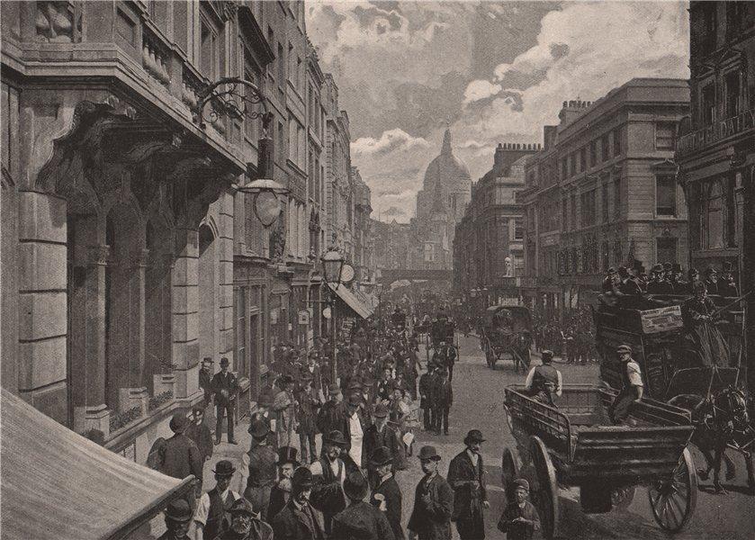 Associate Product Fleet Street, looking East. London 1896 old antique vintage print picture