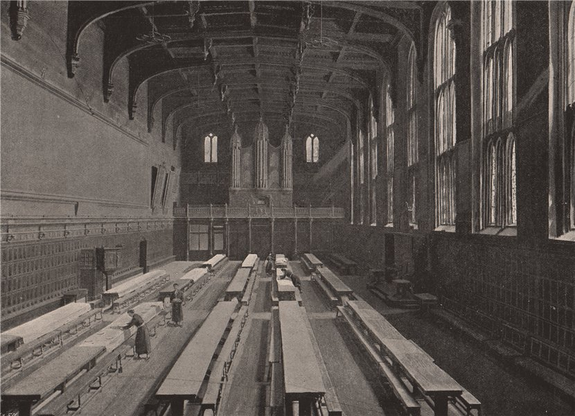 Associate Product Christ's Hospital. The Dining Hall. London 1896 old antique print picture