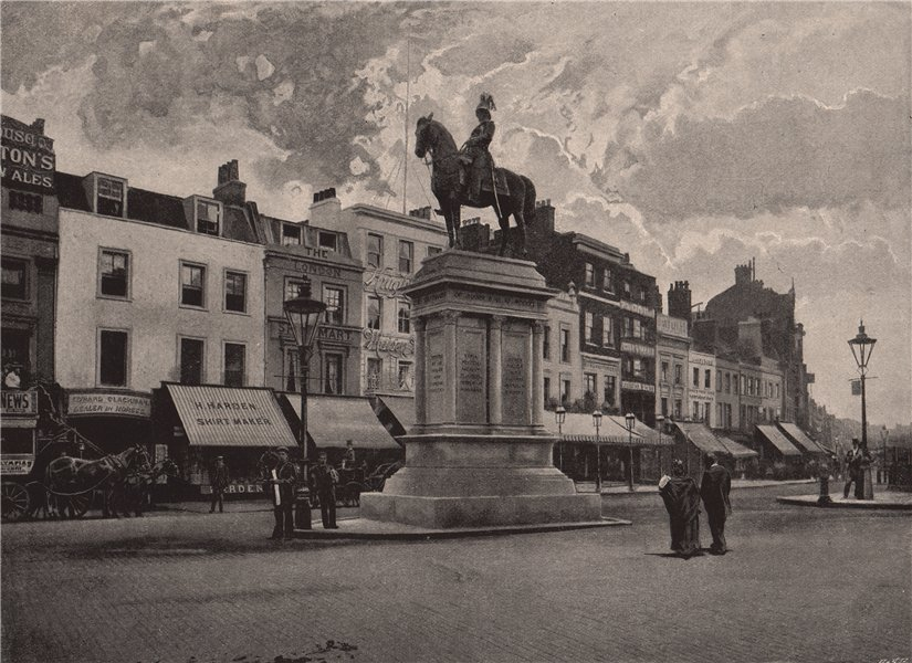 Lord Strathnairn's Statue. London 1896 old antique vintage print picture